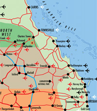 International domestic airports in qld queensland australia map of queensland airports gumiabroncs Images